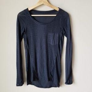 Lululemon Blue Long Sleeve Tee Sheer Pocket